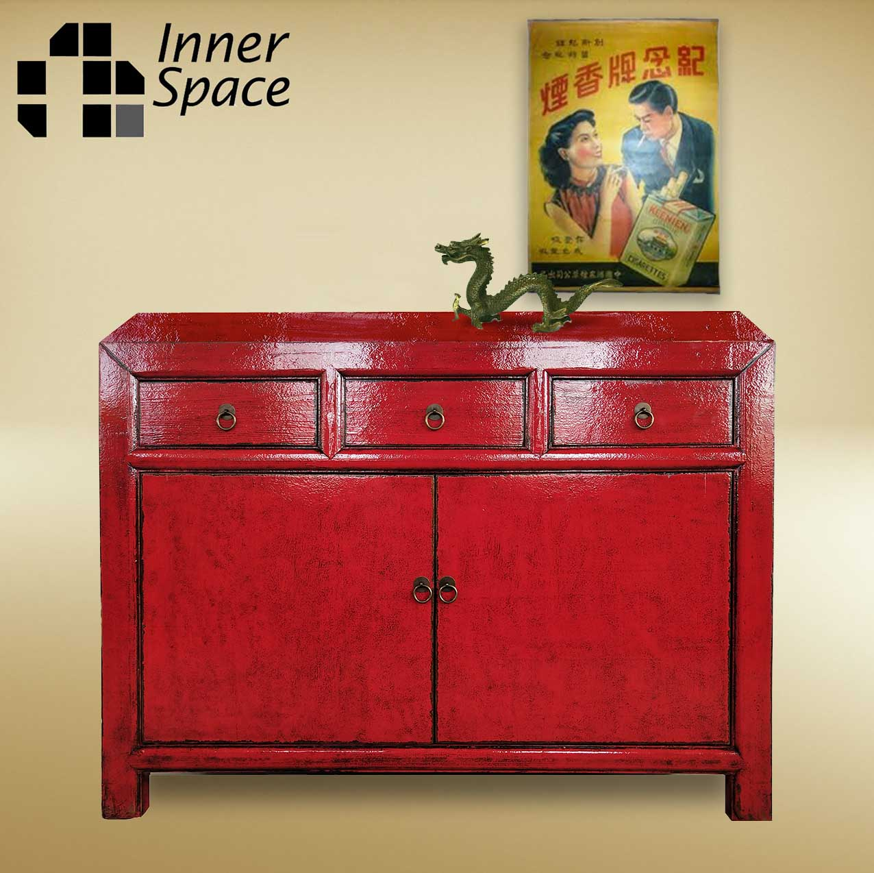 Picture of: Shanghai Sideboard Buffet 2 Door 3 Drawer Red