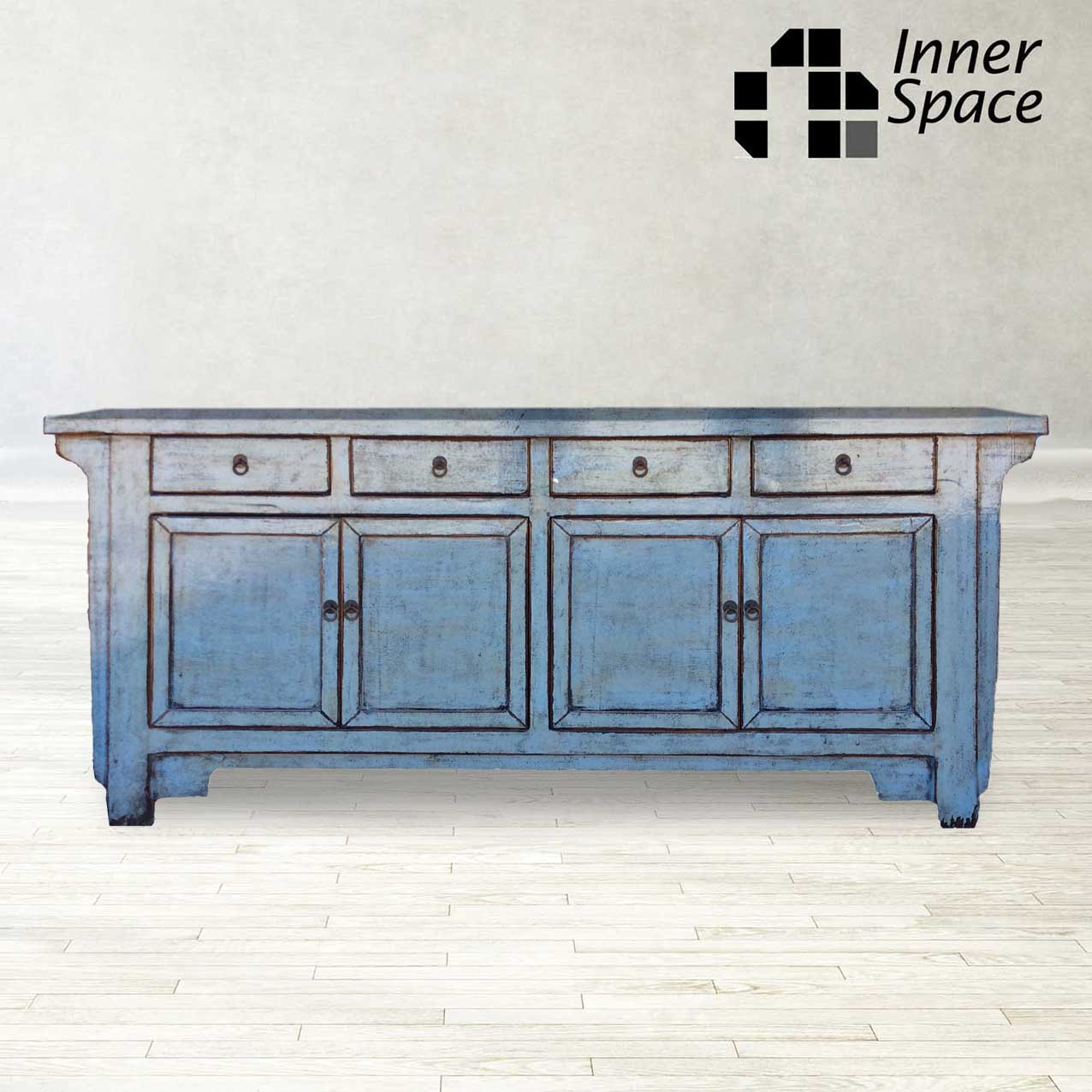 Picture of: Shanghai Sideboard Buffet Pale Blue 4 Door 4 Drawer