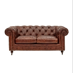 Chesterfield Two Seater Sofa In Aged Vintage Leather