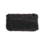 Cushion - Fur - Feather filled charcoal lumbar