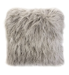 Cushion - Fur - Feather filled grey snow square