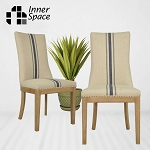 Dining chair - Avalon linen - blue stripe
