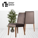 Dining Chair - Grey velvet with studs