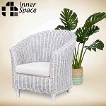 Malacca arm chair white