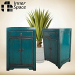 Shanghai bedside / side table  - 2 door 1 drawer teal