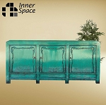 Shanghai medium turquoise embellished 3 door buffet