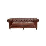 Chesterfield Three Seater Sofa In Aged Vintage Leather