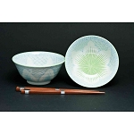Tableware - Japanese  ceramic -  Bowl Set of 2 with Chopsticks Lotus- CHOICE OF COLOUR