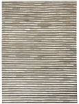 Rug Cali Grey Stripe Leather mix