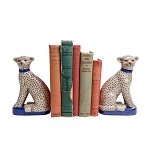 Blue Leopard Bookends