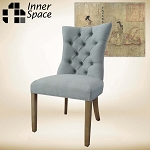 Curved button dining chair - blue