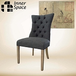 Curved button dining chair - coal