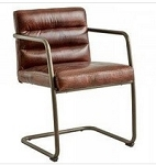 Industrial Deco Chair in Aged Leather