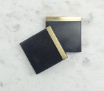 Coasters Black Marble Brass trim