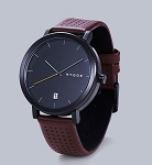 Black front with bordeaux leather strap