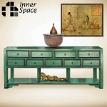 Shanghai console / sofa table - jade 9 drawer