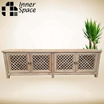 Media Unit / Entertainment Unit - 4 door lattice - Also available in a white rubbed paint finish