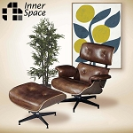 Replica Eames lounger with ottoman