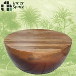 Mango wood round coffee table