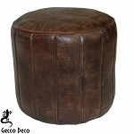 Ottoman/ Footstool Ribbed Chocolate Leather 4007