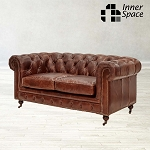 Chesterfield Original Two Seater Sofa In Aged Vintage Leather
