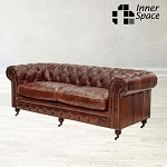 Chesterfield Original Three Seater Sofa In Aged Vintage Leather