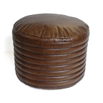 Ottoman Ribbed Round Leather