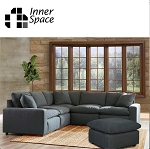 Scarsdale corner and  ottoman - six piece suite dark grey