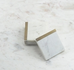 Coasters Marble Brass Trim