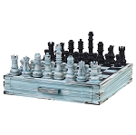 Chess Set With Storage Drawers blue and black