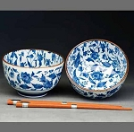 Tableware - Japanese  ceramic - Bowls Set of Two With Chopsticks Blue & White