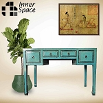 Shanghai console / sofa table - aqua 4 drawer