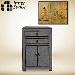Shanghai bedside / side table  - 2 door 2 drawer distressed grey