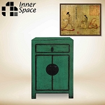 Shanghai bedside / side table  - 2 door 1 drawer green