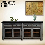 Shanghai Sideboard / Buffet - grey 4 glass doors 4 drawers