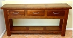 Recycled Australian Hardwood Console - 3 Drawer with shelf - other sizes and styles available