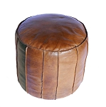 Ottoman, Raw Seamed Leather, Tall 4615