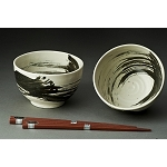 Tableware - Japanese  ceramic - Bowl Set of 2 Swirl with Chopsticks White with Black