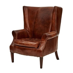 Cambridge Aged Leather Wingback Armchair