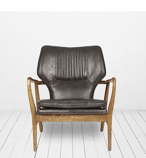 Chicago Leather Charcoal Armchair