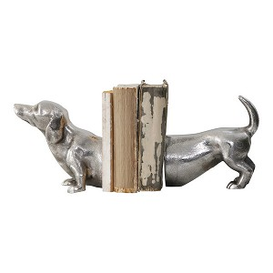 Bookends Sausage Dog Antique Silver Colour