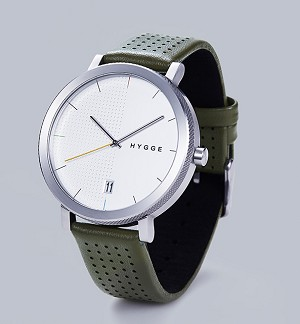 Silver and khaki with leather strap
