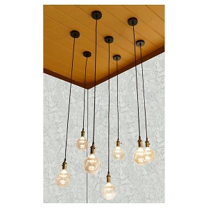 Pendant cord with chrome or bronzed finish and LED bulbs